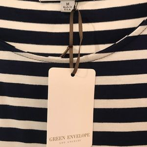 Green Envelope Tops - NWT! Nautical stripe stretchy knit top